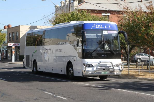 Gull Geelong coach BS04UI on a Ballarat line rail replacement service at Sunshine