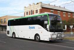 Dysons coach #1061 9766AO arrives at Sunshine station on a Ballarat line rail replacement service