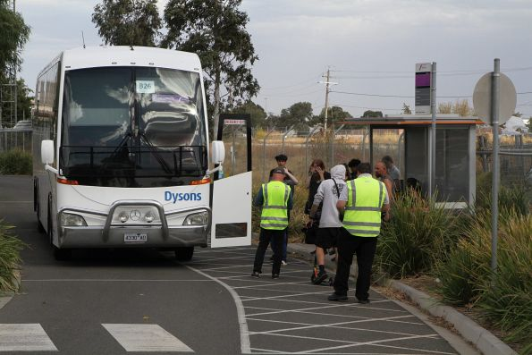 Dysons coach #355 4330AO arrives at Sunshine station on a Ballarat line rail replacement service