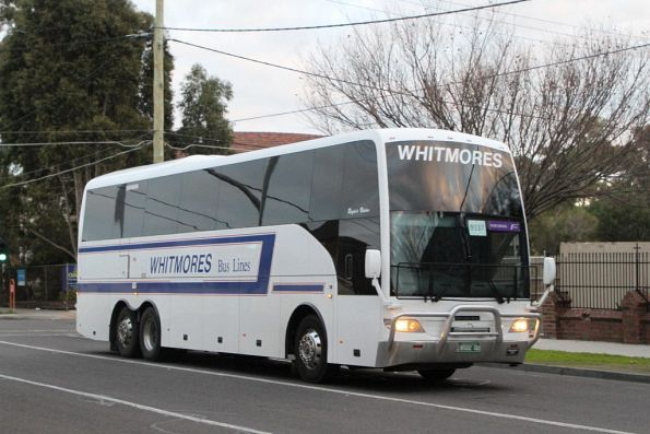 Whitemores Bus Lines coach BS02QO on a Ballarat rail replacement service at Sunshine station