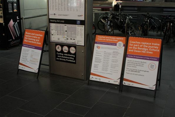 'Buses and coaches replace trains' signage at Southern Cross Station