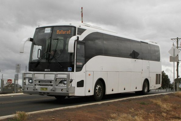 Swan Hill Bus Lines coach 7842MO on a Ballarat line rail replacement service at Melton