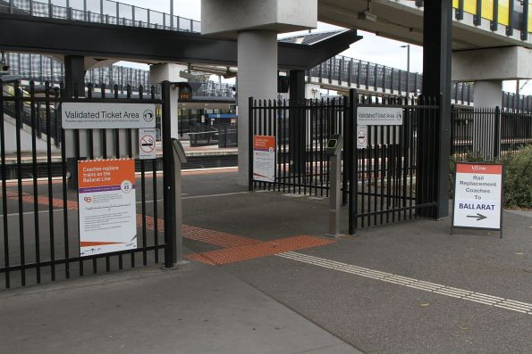 Ballarat line rail replacement bus notices at Sunshine station