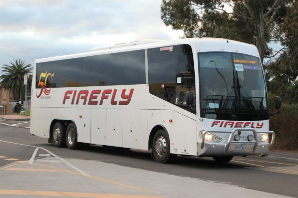 Firefly coach #14 5514AO arrives at Sunshine station on a Ballarat line rail replacement service