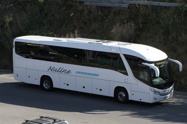 Nuline Charter coach #96 BS04MB arrives at Southern Cross on a Ballarat line rail replacement service