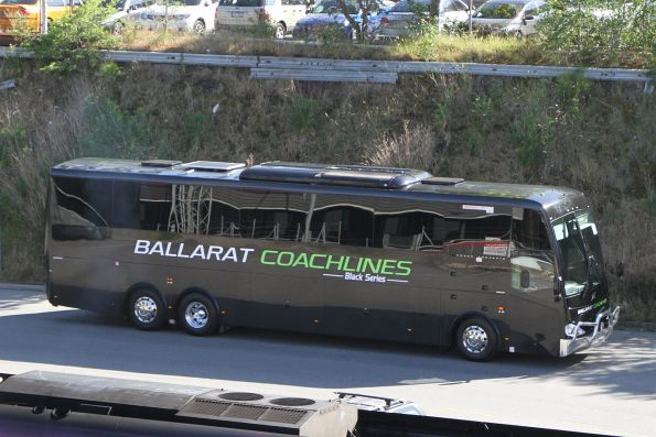Ballarat Coachlines coach arrives at Southern Cross on a Ballarat line rail replacement service