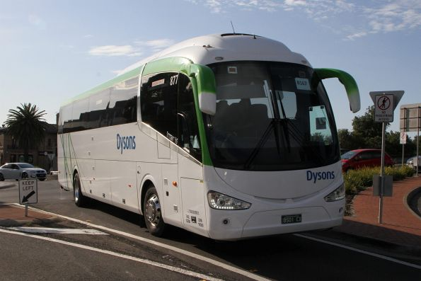 Dysons coach #877 BS01CX arrives at Sunshine station on a Ballarat line rail replacement service