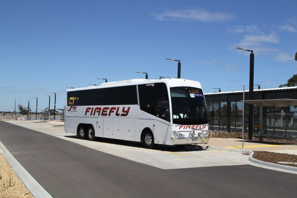 Firefly coach #24 5524AO on a Ballarat line rail replacement service at Rockbank station