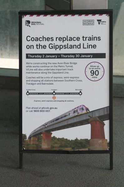 'Coaches replace trains on the Gippsland line' poster at Southern Cross
