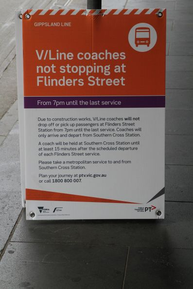 'V/Line coaches not stopping at Flinders Street after 7pm' sign outside Flinders Street Station