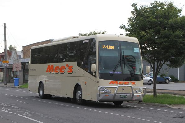 Mee's coach #23 BS00UM with a Ballarat line rail replacement service on Hampshire Road, Sunshine