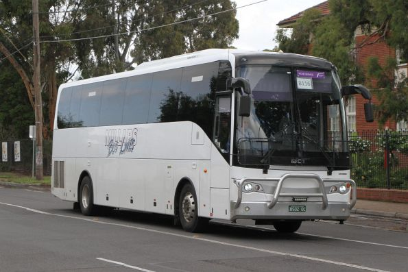 Millars Bus Lines coach BS02OC with a Ballarat line rail replacement service on Hampshire Road, Sunshine