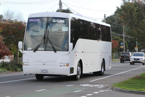 Bacchus Marsh Coaches 7071AO on a Ballarat line rail replacement service along Hampshire Road, Sunshine