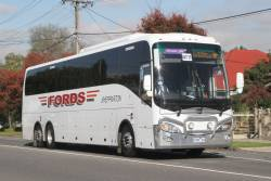 Fords Shepparton coach 8189AO on a Ballarat rail replacement service along Hampshire Road, Sunshine