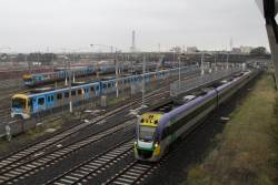 VLocity VL28 leads an up Geelong train on the RRL tracks beside North Melbourne station