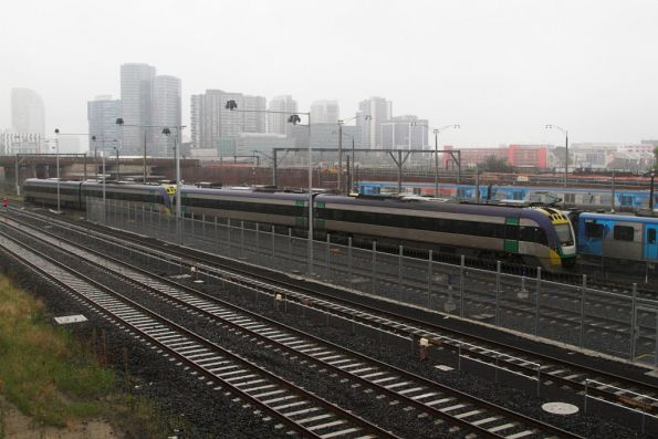 VLocity VL03 and classmate arrive into the V/Line stabling sidings at Melbourne Yard