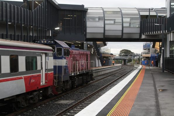 P16 leads an up Bacchus Marsh service into the new Footscray platform 3