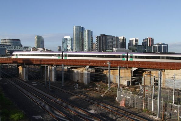 VLocity crosses the North Melbourne flyover, bound for Southern Cross via the new RRL tracks