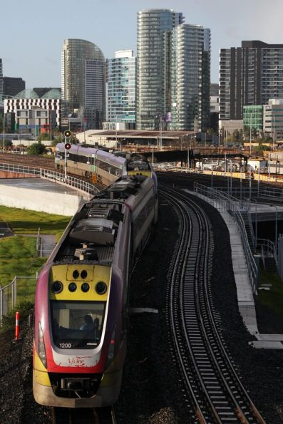 VLocity VL00 heads for Southern Cross on the newly opened RRL tracks over the North Melbourne flyover