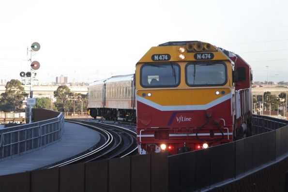 N474 finally on the move over the North Melbourne flyover with an up service