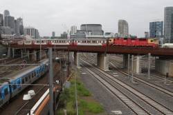 N456 leads an outbound empty car move over the North Melbourne flyover
