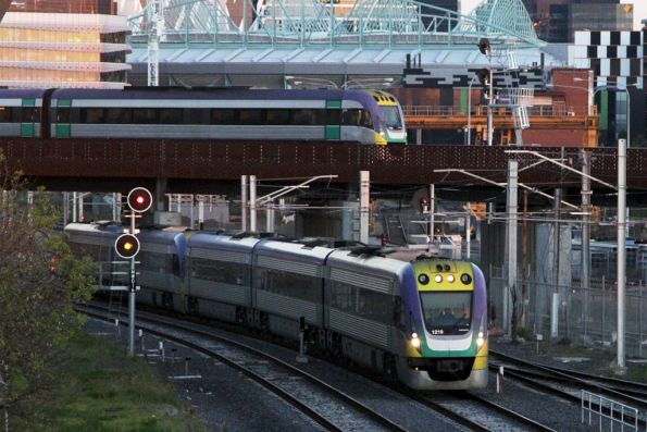 Pair of VLocities passing North Melbourne on departure from Southern Cross Station
