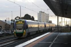 VLocity VL06 and classmate head towards Southern Cross via the RRL tracks at West Footscray