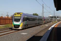 VLocity VL07 and classmate head towards Southern Cross at Middle Footscray