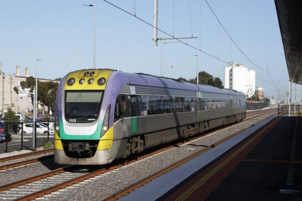 A solo VLocity 3VL23 heads into town along the RRL tracks at West Footscray