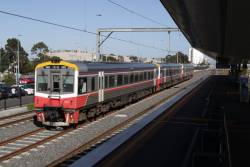 Sprinter 7003 and two classmates head into town along the RRL tracks at West Footscray