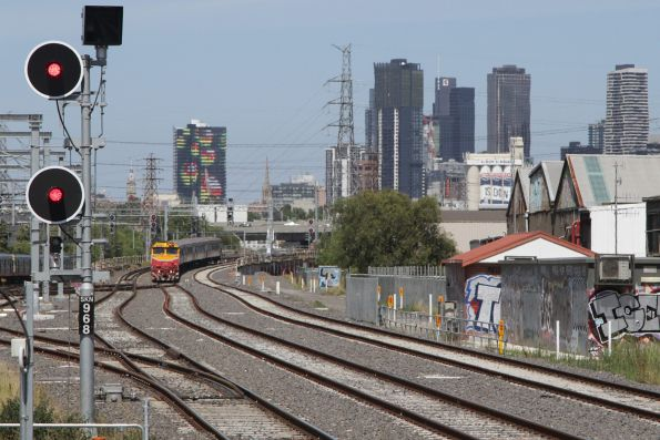 Down Geelong service follows the RRL lines to the junction with the suburban tracks at South Kensington
