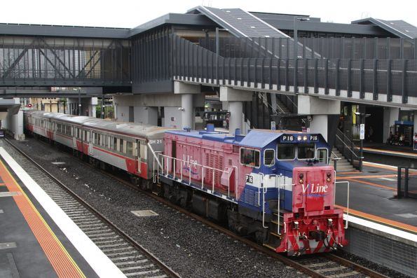P16 in the red V/Line livery arrives into Sunshine on an up Bacchus Marsh service