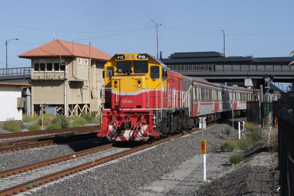 P12 departs Sunshine with a down Bacchus Marsh service