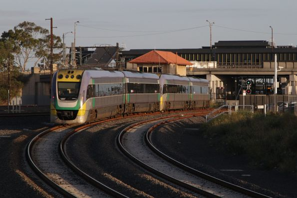 VLocity VL07 and classmate arrive at Sunshine with an up Ballarat service