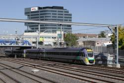 VLocity VL17 and classmate depart Footscray on the down