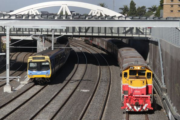 P11 leads a down Bacchus Marsh push-pull service out of Footscray
