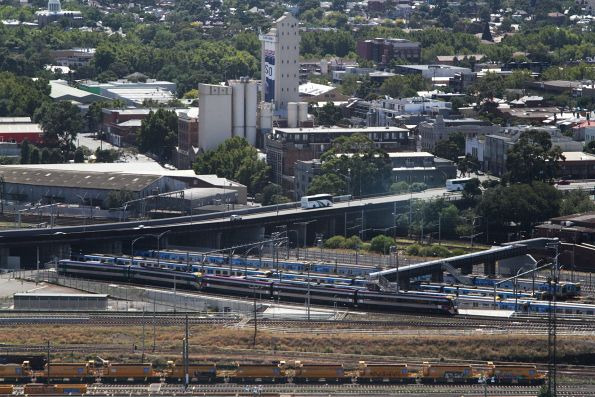 VLocity climbs the RRL tracks towards the North Melbourne Flyover