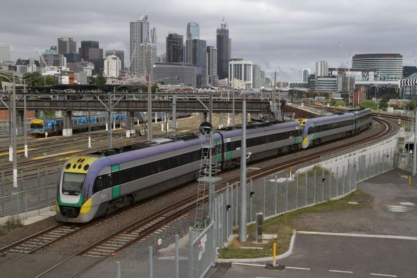 VLocity VL04 and classmate climb towards the North Melbourne flyover