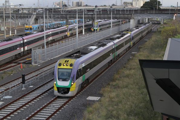 VLocity VL07 heads towards Southern Cross at North Melbourne