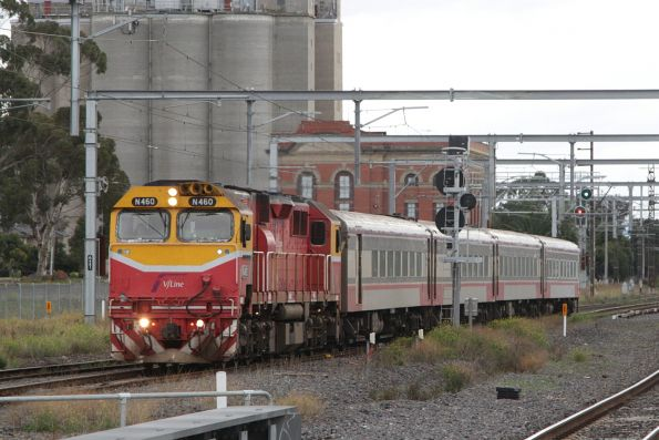 N460 leads the up Swan Hill service at Albion