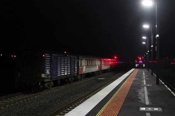 PH power van trails an A class hauled Bacchus Marsh service