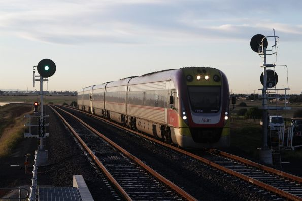 VLocity 3VL50 and classmate arrive into Tarneit with a down Geelong service