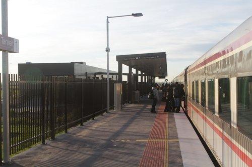 First time V/Line passengers board an up Geelong service at Tarneit