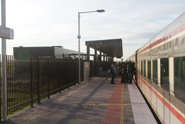 First time V/Line passengers board an up Geelong service at Tarneit