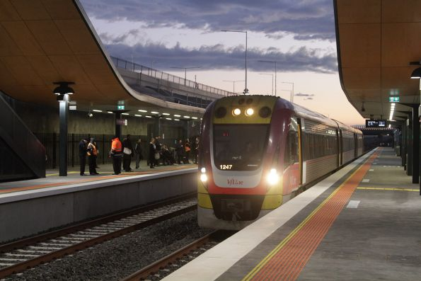 A solo VLocity 3VL47 forms a down Geelong service at Wyndham Vale