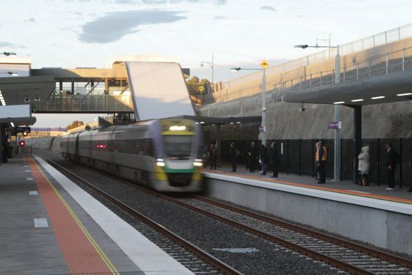 Express train passes through Wyndham Vale station without stopping