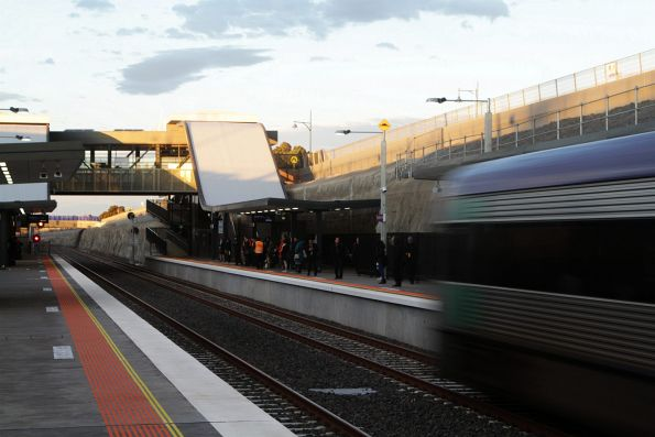 VLocity on an up Geelong service runs express through Wyndham Vale station, bound for Melbourne