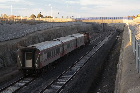 Down Warrnambool service down in the cutting departing Wyndham Vale