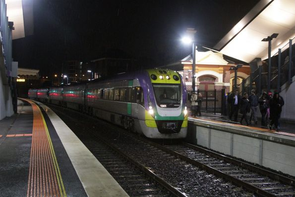 VLocity 3VL41 and classmate arrive on a down service at Footscray