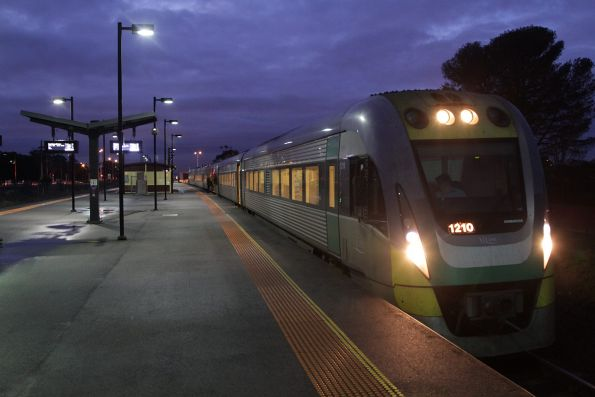 VLocity VL10 and classmate on a down Geelong service pause at Deer Park